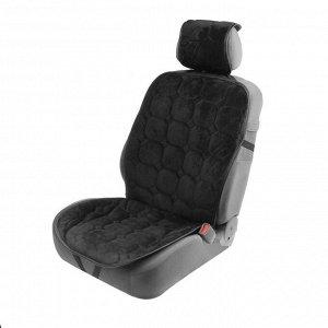 Накидка на переднее сиденье автомобиля 140х50 см, искусственный мех, черный