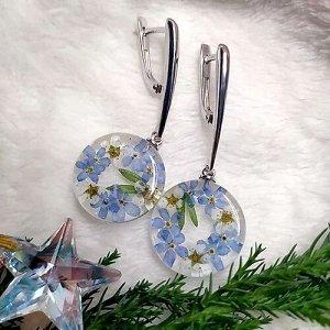 Серебряные серьги с цветками незабудки и черемухи