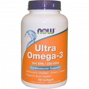 Now Foods. Ultra Omega-3. 500ЭПК/250ДГК. 180мягких таблеток