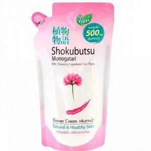 """LION """"Shokubutsu"""" Крем-гель для душа 500мл (мягкая упак) """"Молочные протеины"""" Chinese Milk Vetch"""""""