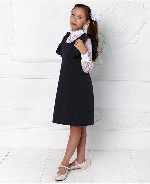 Школьный серый сарафан для девочки Цвет: тёмно-серый