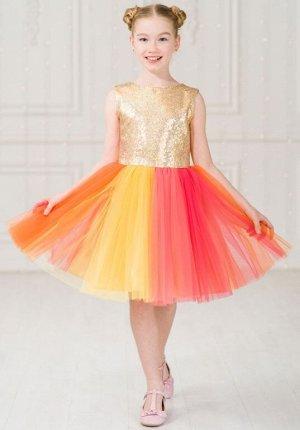 Детское нарядное платье «Принцесса Единорог-1» золотое