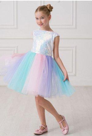 Детское нарядное платье «Принцесса Единорог-1» голубое