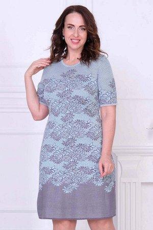 Платье Платье Т 1879/серый  Состав:10% Шерсть, 90% Пан Длина изделия:95 см Длина рукава:короткий рукав Эффектное ажурное платье с небольшим круглым вырезом. Модель смотрится выразительно благодаря