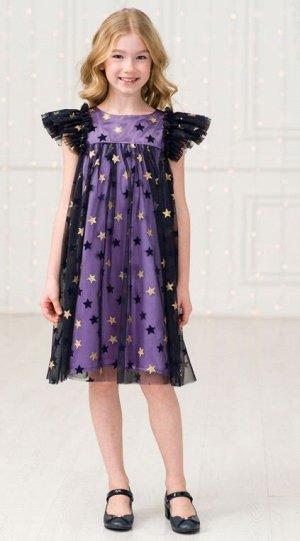 Детское нарядное платье «Амелия» фиолетовый-золотой