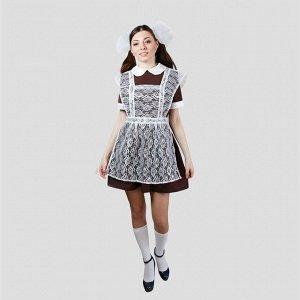 """Костюм """"Выпускница"""", платье, фартук гипюр, банты 2 шт, размер 46-48   2447"""