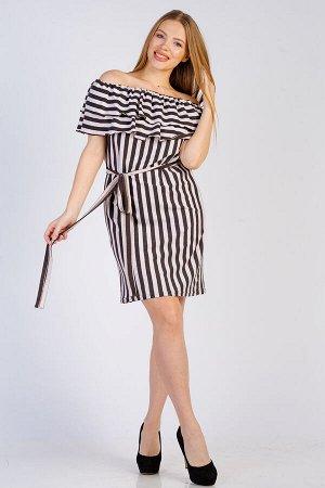 Платье с воланом П 274 (Коричневая полоса)