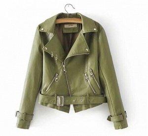 Кожаная куртка зеленая