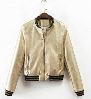 Кожаная куртка золотая