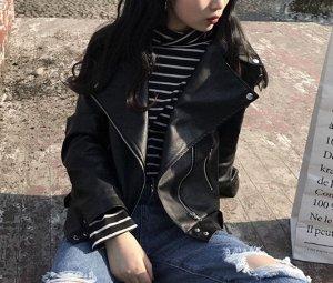 Кожаная куртка черная