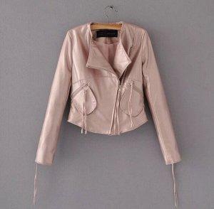Кожаная куртка розовая
