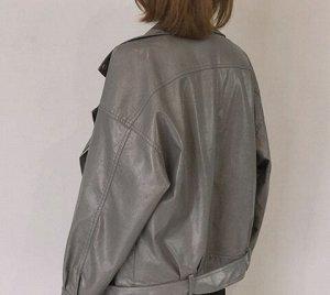 Кожаная куртка серая