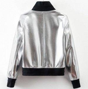 Кожаная куртка серебро