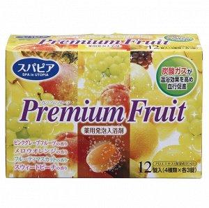 "860200 ""Fuso Kagaku""""Premium Fruits"" Соль д/ванны н/осн угл. газа с ар. сочн фрукт. (12 т*40 г) 1/30"