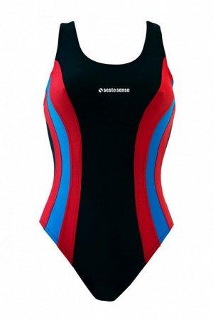 Купальник спортивный BW 715 (черный+красный+голубой)