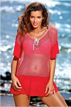 M 460 CLAIRE Пляжное платье-туника (красный)