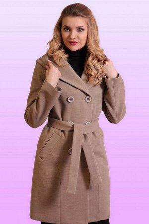 Бежевый Самая практичная модная модель-драповое пальто с капюшоном. Пальто прямого силуэта для тех, кто ценит комфорт и красоту. Линия плеча спущенная, рукав втачной, застежка двубортная на пуговицы.