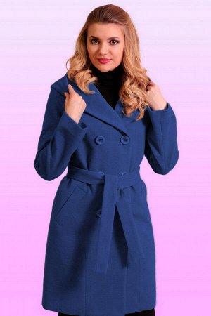 Синий Самая практичная модная модель-драповое пальто с капюшоном. Пальто прямого силуэта для тех, кто ценит комфорт и красоту. Линия плеча спущенная, рукав втачной, застежка двубортная на пуговицы. За
