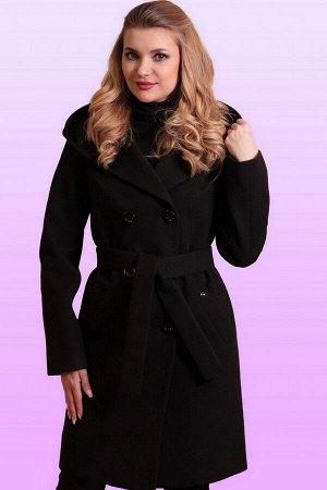 Черный Самая практичная модная модель-драповое пальто с капюшоном. Пальто прямого силуэта для тех, кто ценит комфорт и красоту. Линия плеча спущенная, рукав втачной, застежка двубортная на пуговицы. З