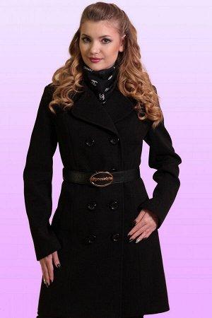 Черный Для непревзойденно изысканного образа: двубортное драповое пальто. Классическая модель с отложным воротником приталенного силуэта. Воротник можно поднять для большей защиты от ветра и холода. Т