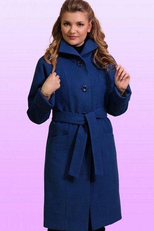 Синий Современное драповое пальто в итальянском стиле прямого силуэта. Изящный шик, утонченная элегантность сделают каждую женщину неотразимой. Воротник стойка, но можно сделать и отложным в форме «Ап