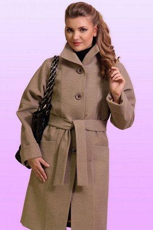 Бежевый Современное драповое пальто в итальянском стиле прямого силуэта. Изящный шик, утонченная элегантность сделают каждую женщину неотразимой. Воротник стойка, но можно сделать и отложным в форме «