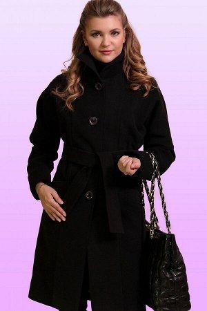 Черный Современное драповое пальто в итальянском стиле прямого силуэта. Изящный шик, утонченная элегантность сделают каждую женщину неотразимой. Воротник стойка, но можно сделать и отложным в форме «А