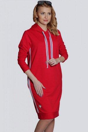 Красный Стильное спортивное женское платье из трикотажа, как нельзя лучше подходит для повседневной носки, не сковывает движений. Платье с капюшоном имеет свободный силуэт и модную длину. В боковых шв