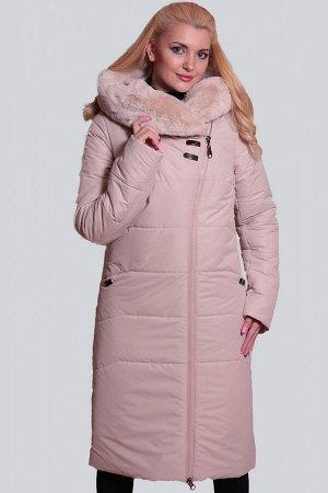 Молочный Теплое пальто удобного прямого силуэта с асимметричной застежкой на молнию. Объемный капюшон с широкой опушкой из искусственного меха будет хорошей защитой от холодных ветров. Карманы в шве п