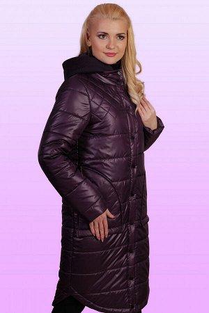 Баклажан Пальто с вязаным с капюшоном – это актуальная вещь весеннего сезона, о приобретении которой стоит задуматься каждой девушке, обожающей разные стильные штучки. Пальто на термофине будет как н