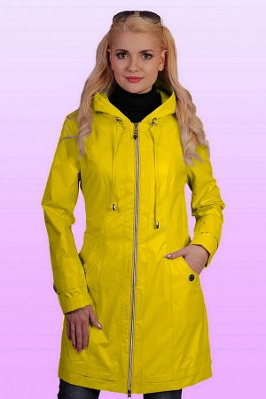 Желтый Стильный плащ с длинными рукавами и небольшим капюшоном. Модель полуприталенного силуэта, центральная застежка молния, карманы на кнопках. Длина изделия по спинке 83 см, длина рукава 63,5 см. Т
