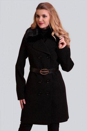 Черный Для непревзойденно изысканного образа: двубортное драповое пальто. Классическая модель с отложным воротником приталенного силуэта. Воротник можно поднять для большей защиты от ветра и холода. М