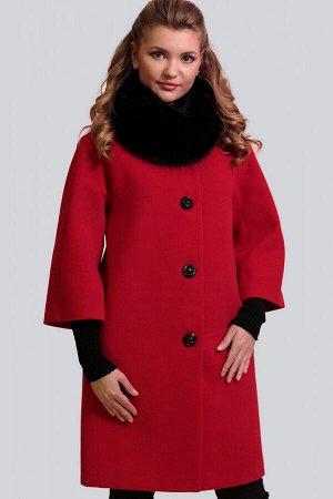 Красный Невероятно изящное, безумно женственное и элегантное драповое пальто. Силуэт прямой. Рукав малого объема с небольшим расклешением, цельнокроеный. Модель дополнена съемным воротником-хомутом из