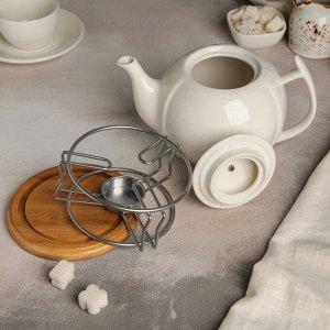 Чайник заварочный «Эстет», с подогревом, на деревянной подставке, 1,2 л