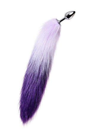 Анальная втулка Metal by TOYFA с бело-фиолетовым хвостом, металл, серебристый, 45 см, ? 2,7 см