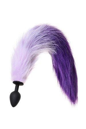 Анальная втулка с бело-фиолетовым хвостом POPO Pleasure by TOYFA, M, силикон, черная, 45 см, ? 3,3 с