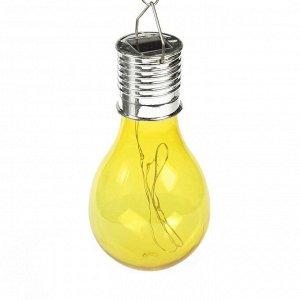 """Фонарь садовый на солнечной батарее """"Лампочка Желтая"""", 5 led, пластик, на прищепке"""