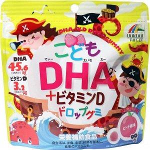 UNIMAT RIKEN DHA+Vitamin D Drop Gummy For Kids Peach Flavor 90P - жевательные витамины для детей с DHA с персиковым вкусом
