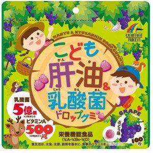 UNIMAT RIKEN KANYU & Lactic Acid Bacterium Drop Gummy For Kids - жевательные витамины с лактобактериями для детей