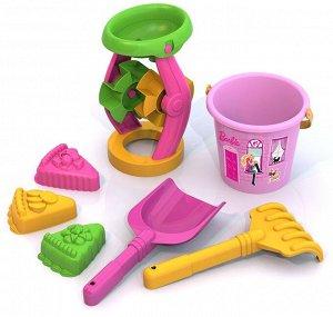 Barbie. Набор для песка БАРБИ №6 (мельница, ведро, лопата, грабли, 3 формы) 16х16х33 см.
