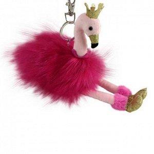 Фламинго розовый 9 см с карабином игрушка мягкая303