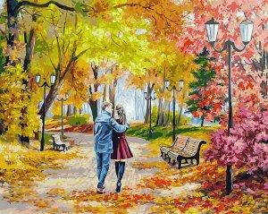 Набор для творчества Белоснежка картина по номерам на холсте Осенний парк скамейка двое 40 на 50 см