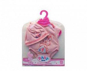 Одежда для кукол: боди (розовый цвет) в наборе с шапочкой97