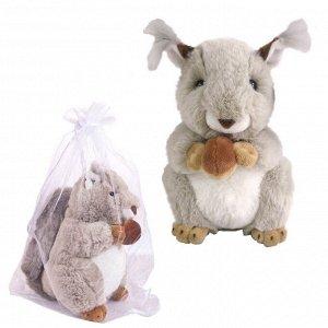 Мягкая игрушка ABtoys В дикой природе Бельчонок с орешком, 20 см. игрушка мягкая в подарочном мешочке.498