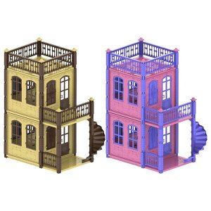 "Домик для кукол ""Замок Принцессы"" (2 этажа) бежевый/розовый 49х19х54 см.2"