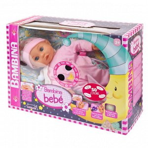 Кукла DIMIAN Bambina Bebe Пупс звуковые эффекты, колыбельная мелодия, 42см72