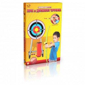 Игровой набор ABtoys Лук со стрелами на присосках и духовая трубка в наборе, 3 стрелы, 4 снаряда, мишень и колчан352