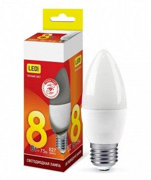 Лампа светодиодная LED-СВЕЧА-VC 8Вт 230В Е27 3000К 720Лм IN HOME
