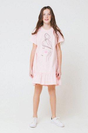 Платье(Весна-Лето)+girls (светло-розовый к21)
