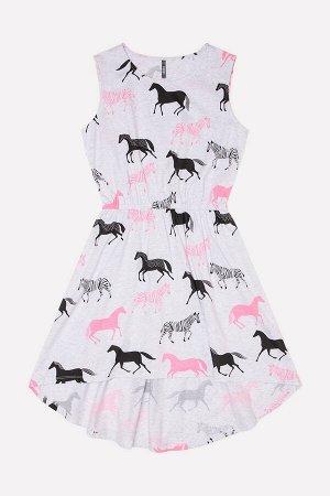 Платье для девочки КБ 5604 светло-серый меланж, лошадки к23